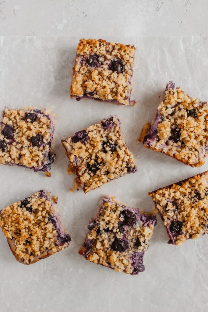 Blueberries and Cream Crumble Bars