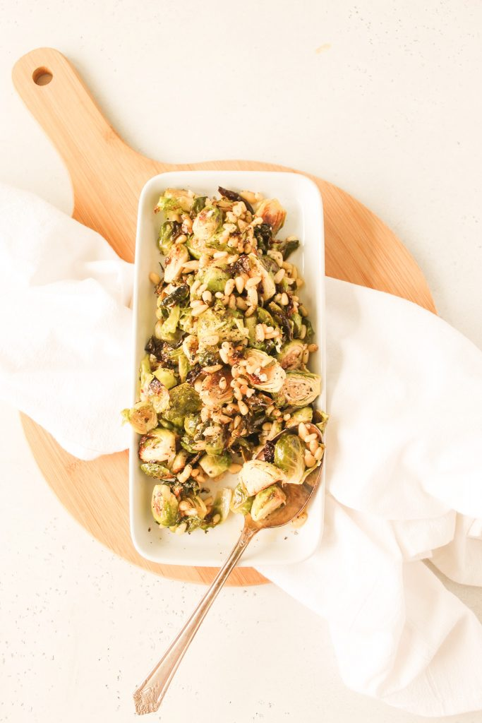 Roasted Brussels Sprouts Salad on a white plate